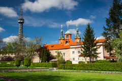Famous lookout tower and church of St.Lawrence on the Petrin Hil Royalty Free Stock Image