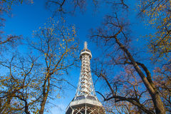 Famous Lookout tower on Petrin Hill in Prague Stock Photo