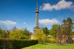 Famous lookout tower on the Petrin Hill in Prague Royalty Free Stock Photo