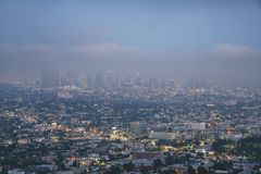 The famous Los Angeles downtown skyline. From Griffith Observatory stock images