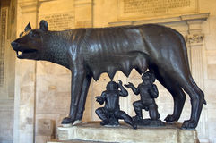 The famous Lupa Capitolina. Ancient roman bronze of the she-wolf suckling romulus and remus the traditional founders of the city and empire of rome at the UNESCO Royalty Free Stock Images