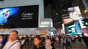 Famous luxury shopping district stock video