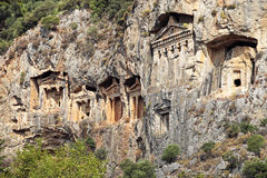 Famous Lycian Tombs of ancient Caunos city Royalty Free Stock Photos