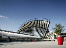 Famous lyon airport tgv railway station landmark exterior in fra Royalty Free Stock Image