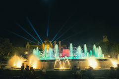 Famous Magic Fountain show in Barcelona, Spain Royalty Free Stock Photos