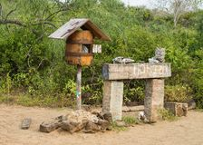 The Famous mail box at Floreana island. The famous wooden Post box at Post Office Bay. Floreana Island, Galapagos royalty free stock photos