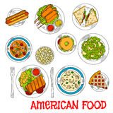 Famous main and dessert dishes of american cuisine Stock Image