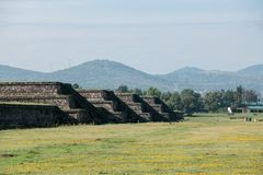 Famous and majestuous Mexican archaeological site. Sun pyramid during Mexico`s rainy season, green grass and flowers Royalty Free Stock Images