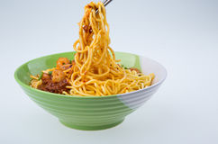 Famous Malaysia Prawn noodle with chili paste Royalty Free Stock Images