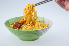 Famous Malaysia Prawn noodle with chili paste Royalty Free Stock Photography