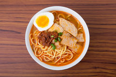 Famous Malaysia Prawn noodle with chili paste Stock Image