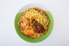 Famous Malaysia Prawn noodle with chili paste Stock Photography