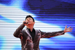 Famous male singer zhangyu singing Royalty Free Stock Photos