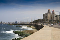 Famous Malecon drive with Hotel Nacional. Famous Malecon drive in Havana, Cuba with Hotel Nacional Stock Image