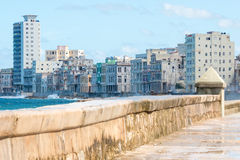The famous malecon seawall in Havana. Vith a view of the city skyline Stock Images