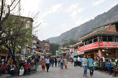 Mall Road Manali stock photos
