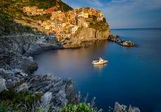 The Famous Manarola. Romantic Sunset at Manarola, Cinque Terre, Italy Stock Photo