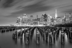 Famous Manhattan view at night - black and white - New York City Royalty Free Stock Images