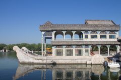 Marble boat of purity and ease at the summer palace, Beijing, China. The famous Marble boat of purity and ease at the summer palace, Beijing, China. Enjoyed by royalty free stock photos