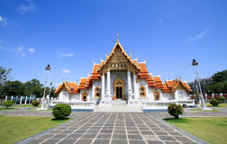 The famous marble temple Benchamabophit from Bangkok, Thailand. Royalty Free Stock Images