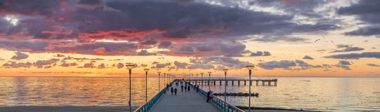 Famous marine walking pier in Palanga, Lithuania. The photo was taken in a famous international resort of Palanga,Lithuania, Europe Stock Photos