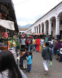 Famous Market, Otavalo. OTAVALO, ECUADOR: 8 OCTOBER 2005. A view of the famous Saturday market in the andean town of Otavalo .The indigenous Otavaleños are Stock Image