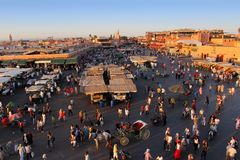 The famous Marrakesh square Djemaa el Fna, center of old town Stock Images