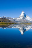 The famous Matterhorn. Reflected in the Stelisee Royalty Free Stock Photos