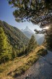 Matterhorn peak against sunset in Zermatt area, Switzerland stock image