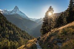 Matterhorn peak against sunset in Zermatt area, Switzerland royalty free stock photography