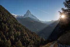 Matterhorn peak against sunset in Zermatt area, Switzerland stock photos