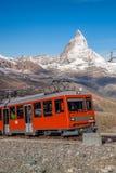 Matterhorn peak with Gornergrat train in Zermatt area, Switzerland stock photography
