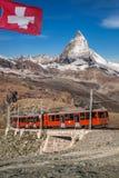 Matterhorn peak with Gornergrat train in Zermatt area, Switzerland royalty free stock images