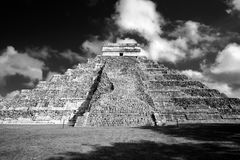 Famous Mayan pyramid at Chichen Itza archeological site in BW. Famous Mayan pyramid in Chichen Itza archeological site, one of new Seven wonders of the World Stock Photos