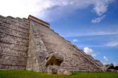 Famous Mayan pyramid in Chichen Itza with stone stairs Royalty Free Stock Images