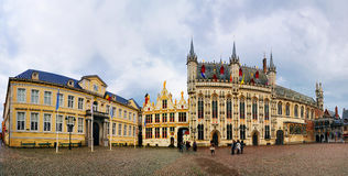 Panorama of Burg, Bruges, Beligum Royalty Free Stock Photos
