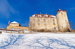 Famous medieval castle of Gruyeres in Switzerland Royalty Free Stock Photos