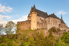 Vianden castle in Luxembourg. Famous medieval fortified Vianden castle in Luxembourg Royalty Free Stock Photography