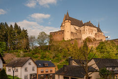 Vianden castle in Luxembourg. Famous medieval fortified Vianden castle in Luxembourg Royalty Free Stock Photo