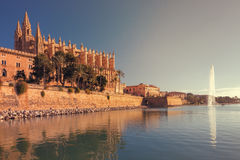 The famous medieval gothic cathedral of Palma de Mallorca, spain. The famous medieval gothic cathedral of Palma de Mallorca, Balearic Islands, spain Stock Photos