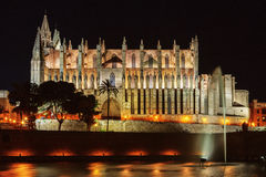 The famous medieval gothic cathedral of Palma de Mallorca, Spain. Night shot of the famous medieval gothic cathedral of Palma de Mallorca, Balearic Islands Stock Image