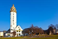 Famous medieval Hoechster Schlossturm in Frankfurt Stock Photo