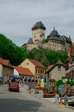 Famous medieval Karlstejn castle near Prague in Czech Republic Stock Images