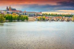 Famous medieval stone Charles bridge and castle Prague, Czech Republic stock photography