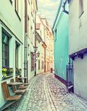 Famous medieval street in city of Riga, Latvia, Europe Royalty Free Stock Photos