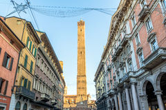 Famous medieval Two Towers in Bologna, Italy Royalty Free Stock Photos