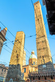 Famous medieval Two Towers in Bologna, Italy Royalty Free Stock Photography