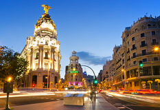 The famous Metropolis Building of Gran Via, Madrid. The iconic Metropolis Building at the start of Gran Via, Madrid. Constructed in elaborate Beaux-Art style royalty free stock images