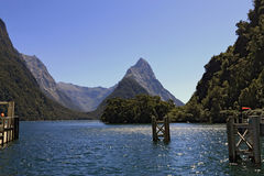 Famous Milford Sound and Mitre Peak Stock Photo