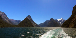 Famous Milford Sound and Mitre Peak Stock Photos